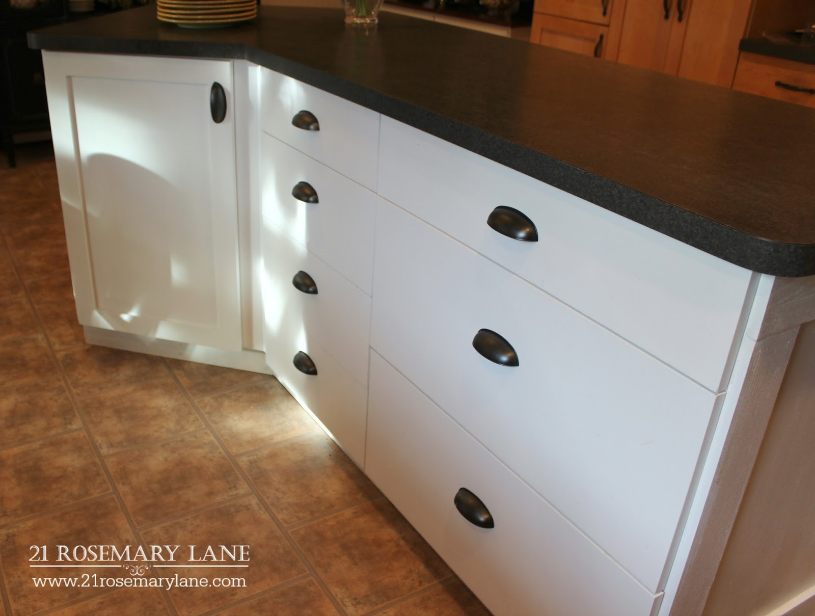 21 rosemary lane board batten kitchen island makeover for Kitchen cabinets 45 degree angle