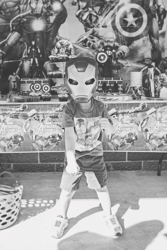 Iron Man mask for boy's birthday party