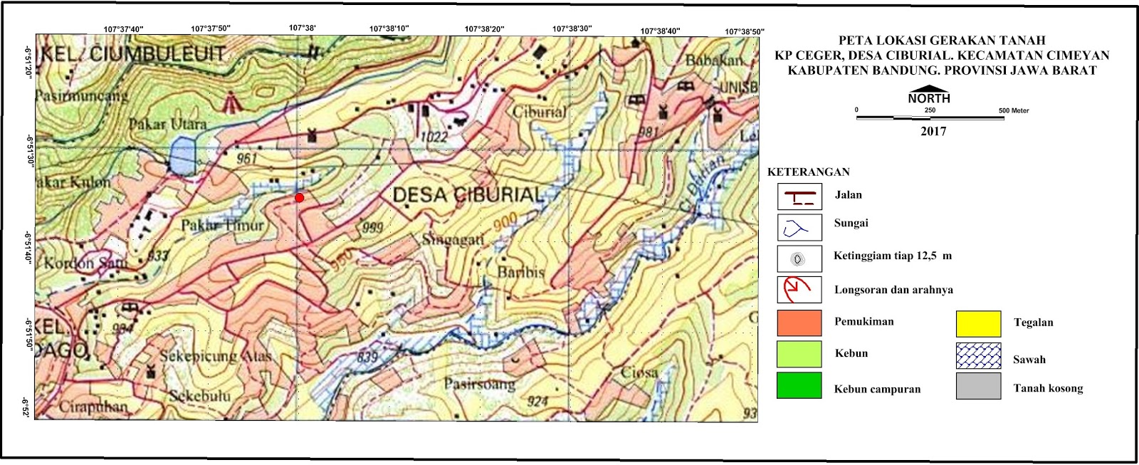 Peta lokasi gerakan Kp. Ceger RW 12, Desa Ciburial, Kecamatan Cimenyan, Kabupaten Bandung, Jawa Barat