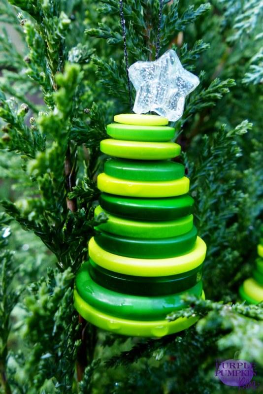 Button #Christmas Tree Ornaments #Craft   The Purple Pumpkin Blog   #shop #cbias