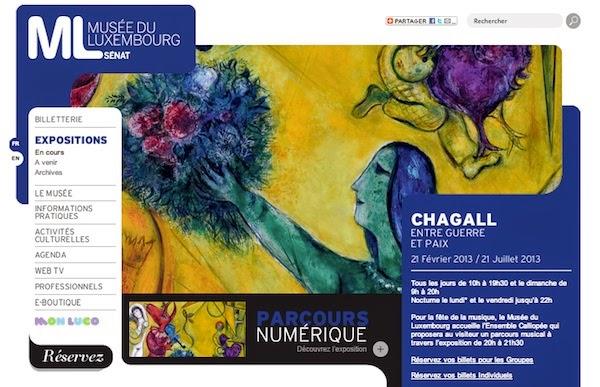 Copie d'écran de l'expo Chagall sur le site du musée du Luxembourg