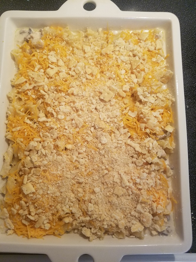 This a hearty casserole dish with chicken, cheese and pasta all homemade.
