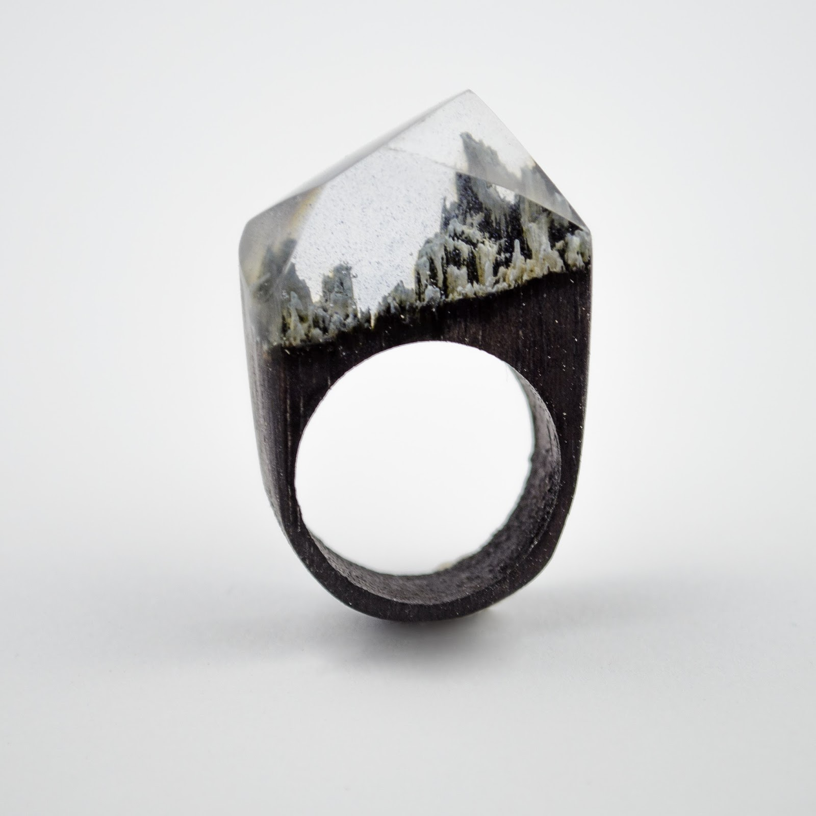 OKTIE Black Winter Mountain Wood Resin Ring HandMade Wooden Gift For Her Box Free Engraving