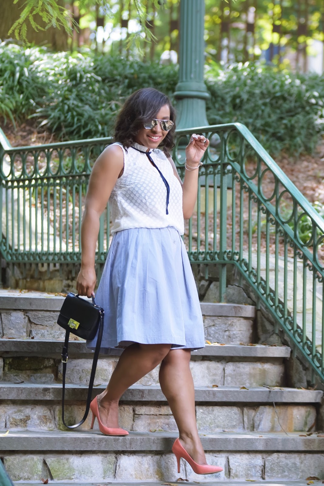 Modcloth, Modclothsquad, prefall, full skirt, midi skirt, armandhugon, dominican bloggers, dc bloggers, streetstyle, fall outfit ideas, necktie blouse
