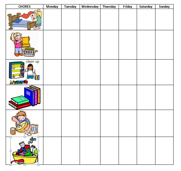 simple toddler chore chart with images