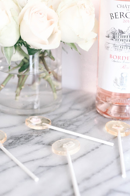 A recipe for the most adorable homemade rosé lollipops!