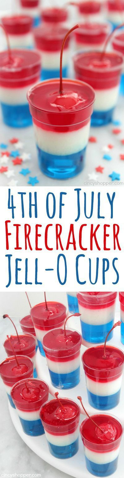 Layered 4th of July FIRECRACKER Jell-O Cups Recipe