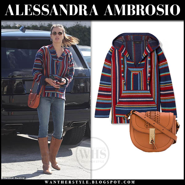 Alessandra Ambrosio wearing blue and red striped alanui sweater, jeans and brown knee high boots casual outfit in Santa Monica February 2019