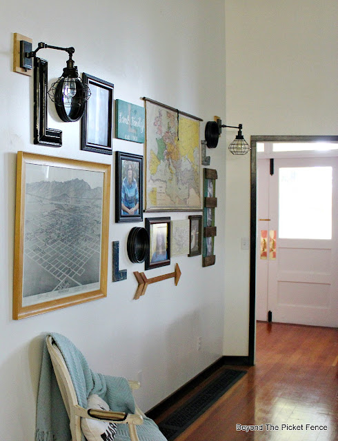 gallery wall, map, vintage, schoolhouse, lighting, oil rubbed bronze, arrow, lath, pencil map, school map, decor, http://bec4-beyondthepicketfence.blogspot.com/2015/10/gallery-wall-with-awesome-light-sconces.html