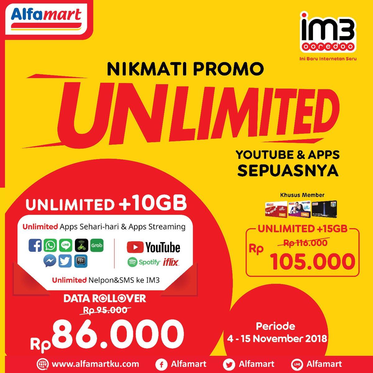 Alfmart - Promo Unlimeted Indosat Youtube Sepuasnya Mulai 86 Ribu (s.d 15 Nov 2018)