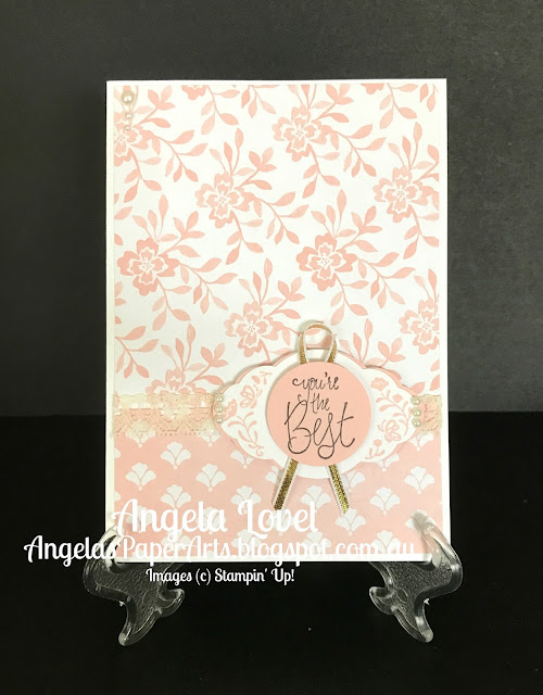 Stampin' Up! Powder Pink Pretty Label card by Angela Lovel, Angela's PaperArts
