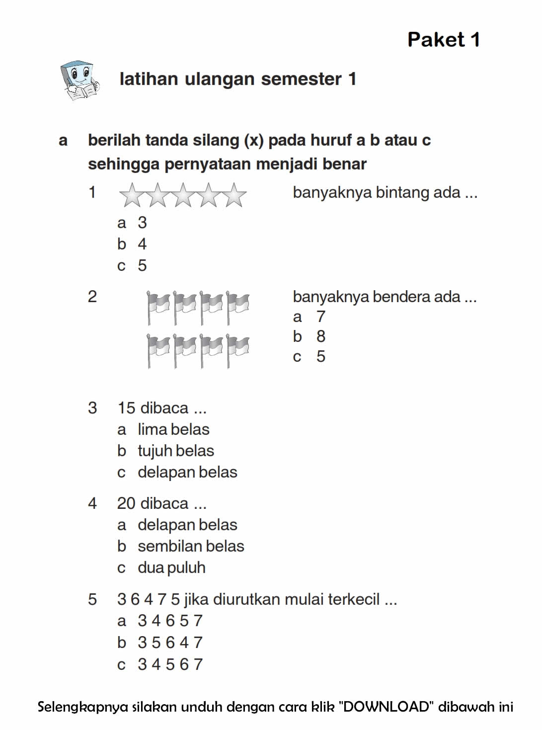 Download Soal UAS Ganjil Matematika Kelas 1 Semester 1 2015/2016 ~ Rief Awa Blog : Download