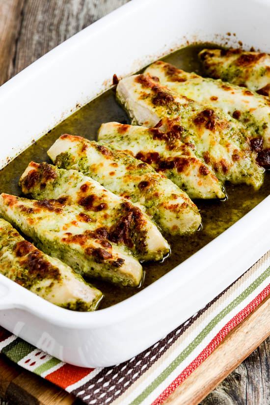 Easy Baked Pesto Chicken found on KalynsKitchen.com