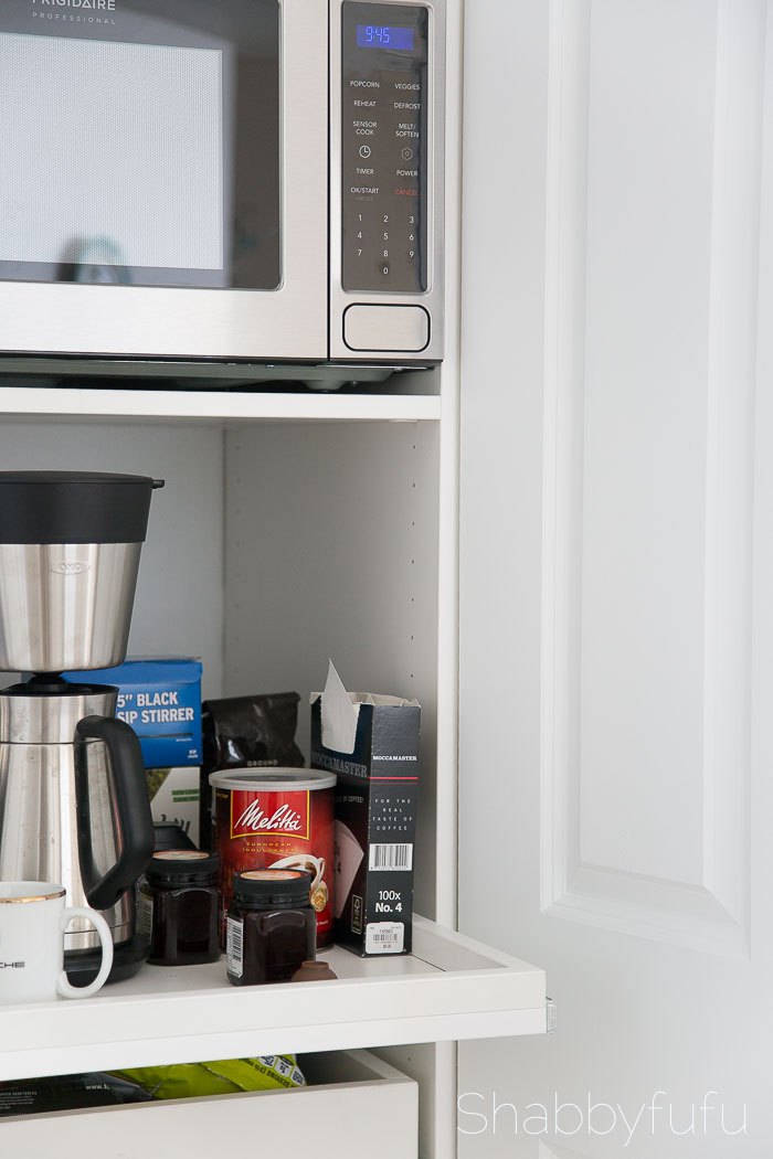 How To Build A Hidden Coffee Station and Microwave shabbyfufublog.com