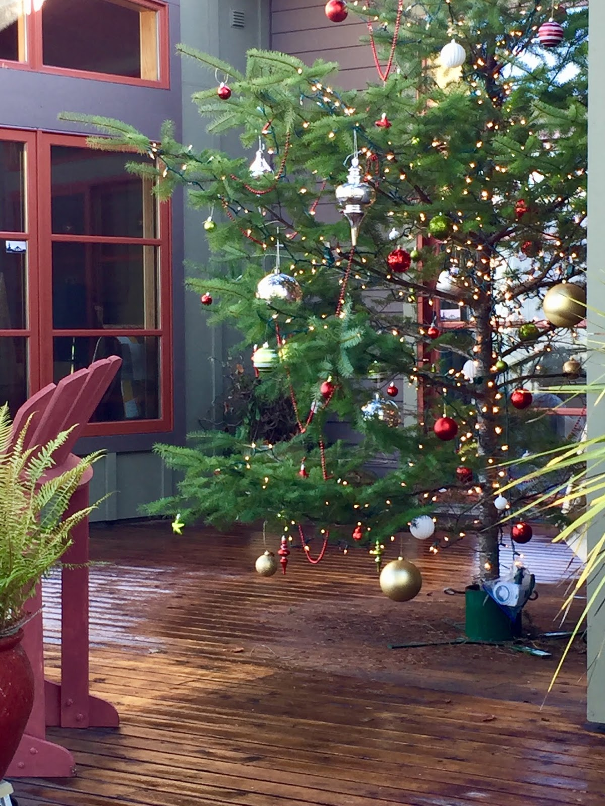 image of a decorated Christmas Tree, including lights and ornaments, on a deck in the winter