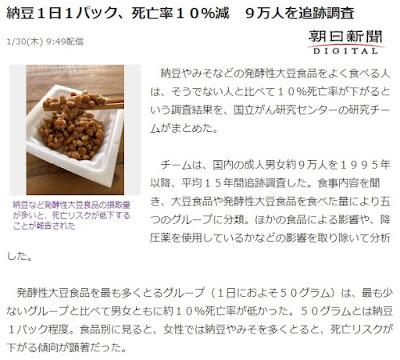 納豆1日1パック 死亡率10%減 記事