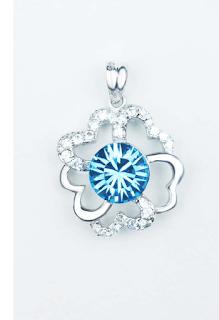 Pandantiv floare din argint, decorat cu cristal Austria albastru si zirconii cubice