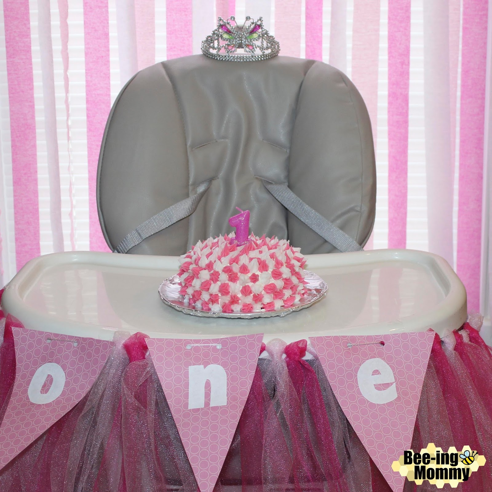 Pink Elephant First Birthday Party Smash Cake DIY