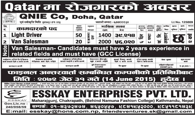 Driver and Van Salesman Job Vacancy in Qatar Salary Up to Rs 56,020