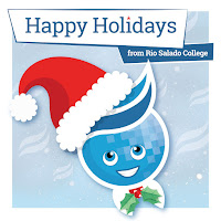 Poster featuring Rio mascot Splash in elf hat with mistletoe bow tie.  Text: Happy Holidays