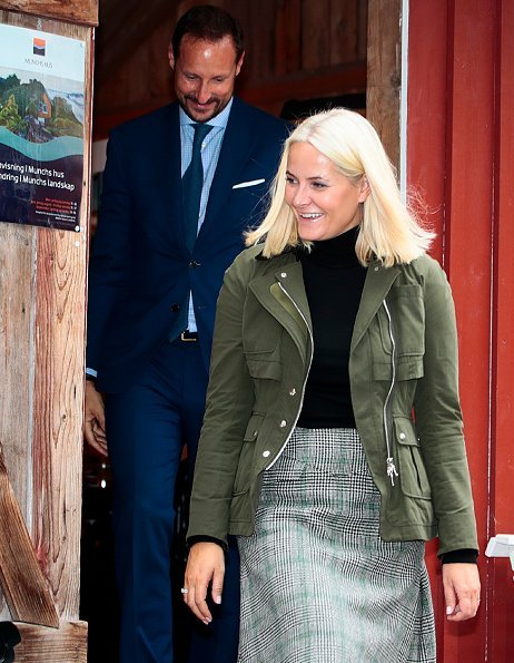 Crown Princess Mette-Marit wore ALTUZARRA Alize Jacket in Army and Holland & Holland Prince Of Wales Check Skirt