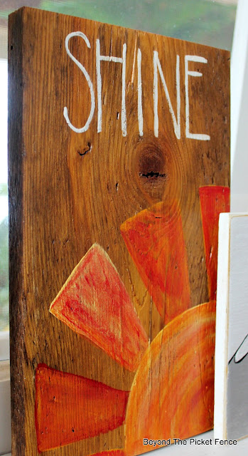 Simple sign on reclaimed wood, Shine sign