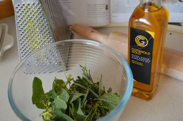 Herbs, Lemon zest and Cotswold Gold rapeseed oil