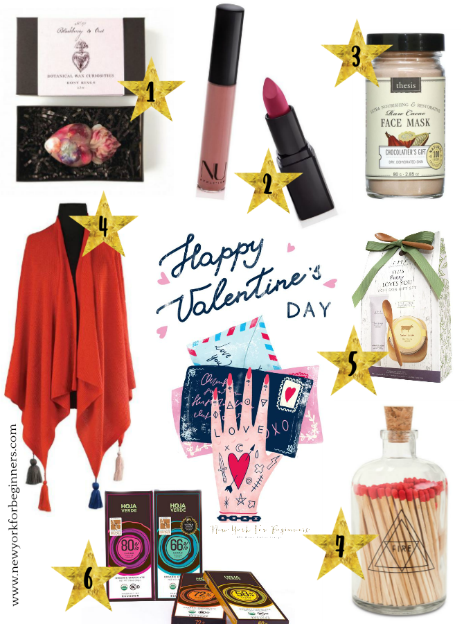 7 gift ideas for valentine's day including an exvoto heart soap, an organic lipstick, a chocolate face mask, a beautiful red poncho for traveling, farmhouse fresh a bunny loves you gift set and fair trade chocolate bars from hoja verde