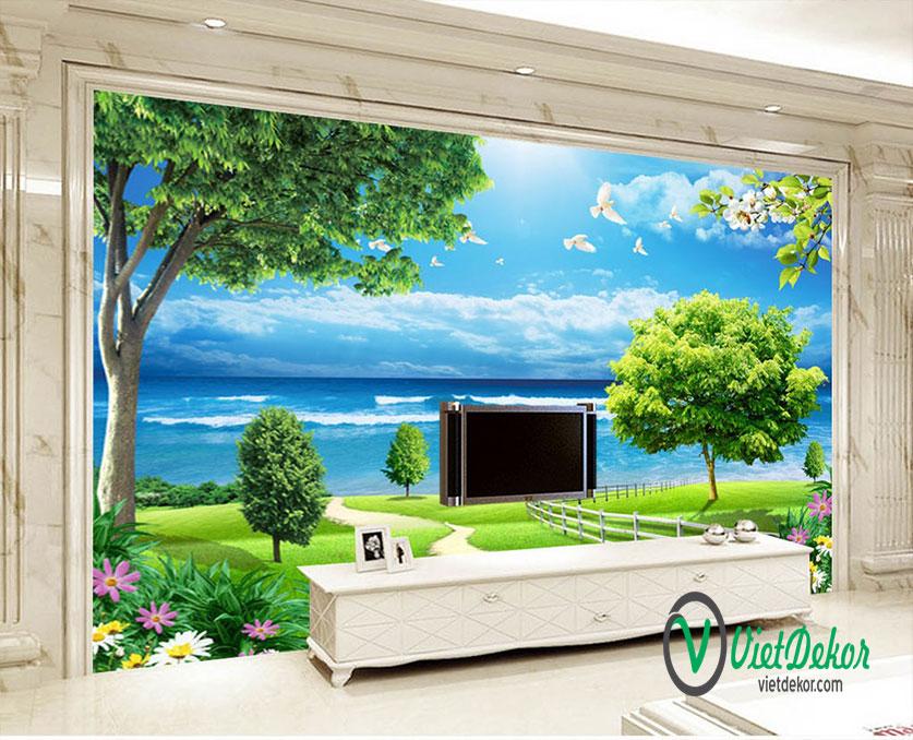 Tranh dán tường 3d phong cảnh cò bay