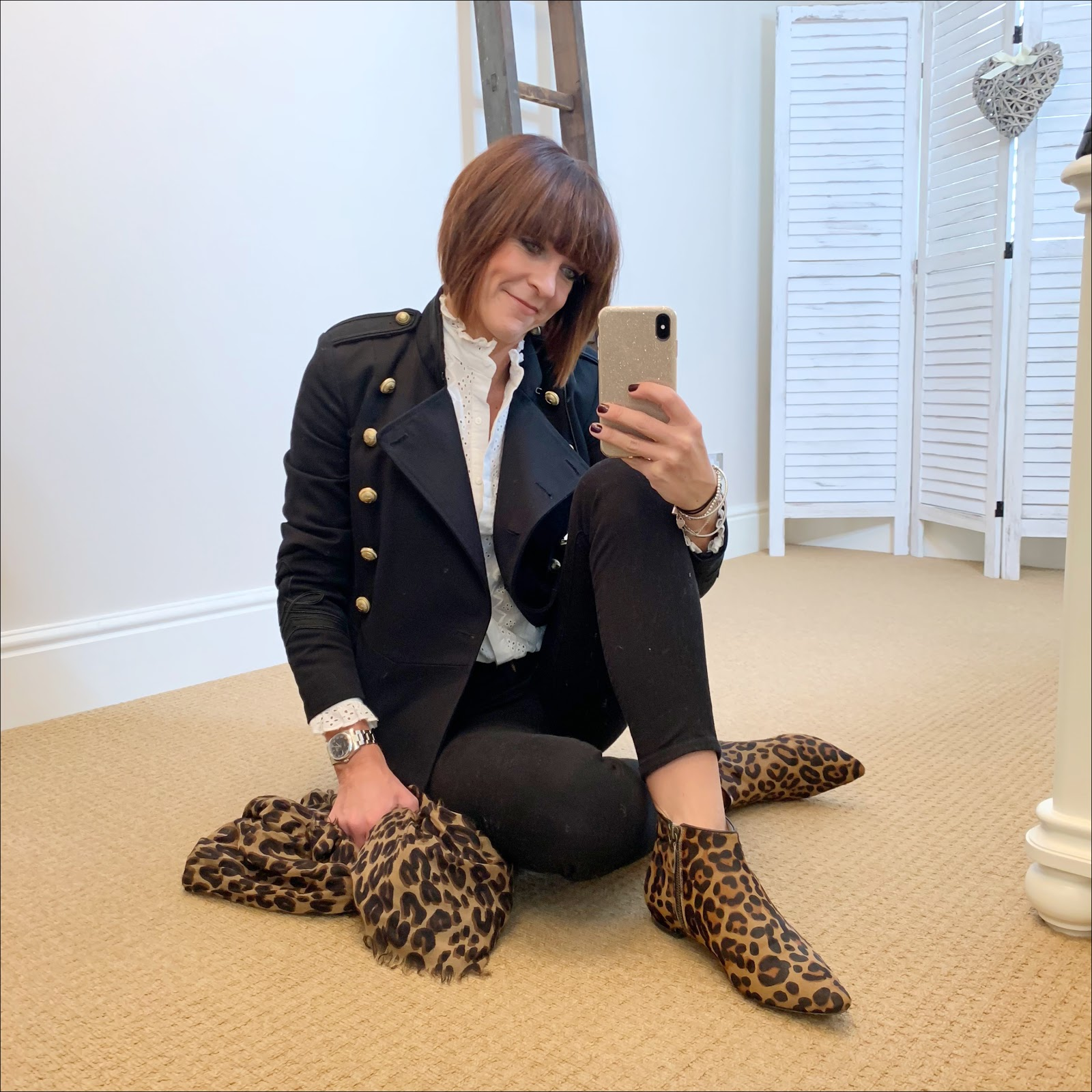 my midlife fashion, zara embroidered blouse, isabel marant etoile military jacket, j crew 8 inch stretchy toothpick jeans, boden leopard print flat ankle boots, louis vuitton leopard print shawl scarf