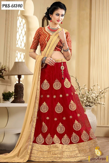 Red color lehenga choli for women wear in wedding reception function party and engagements online shopping below price 2000