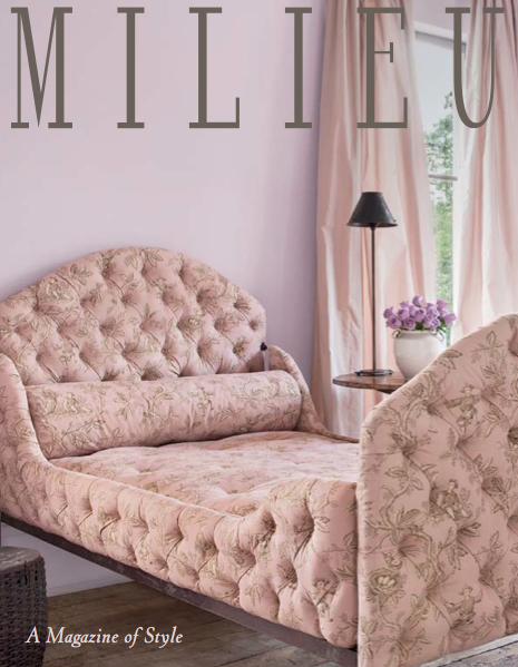 image result for Milieu magazine cover pink toile tufted bed