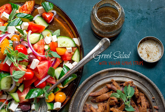 Greek salad with vegan gyros strips!!