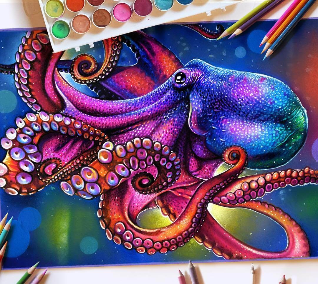 07-Octopus-Glowing-Colorful-Drawings-Morgan-Davidson-www-designstack-co