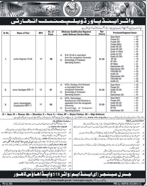 Government Jobs in Pakistan WAPDA Jobs 2016