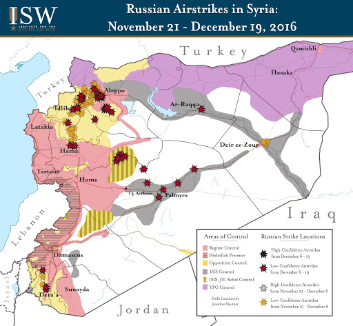 Russian Airstrikes in Syria: November 21 - December 19, 2016