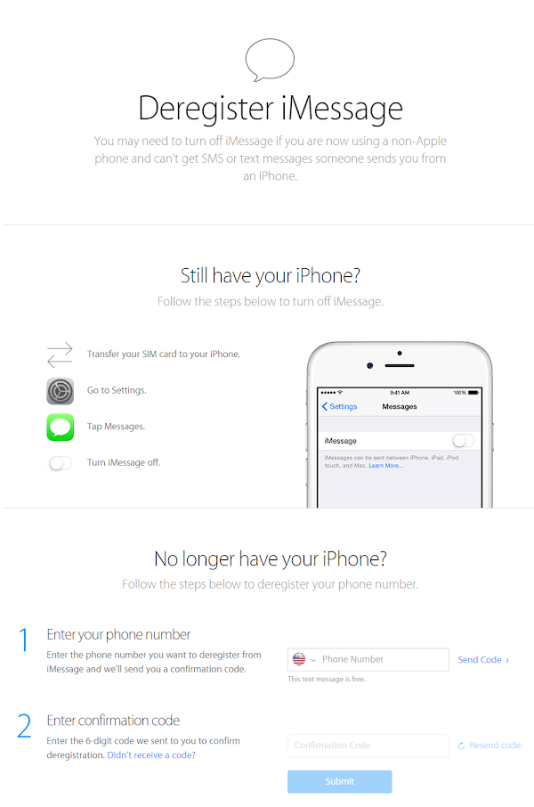 Apple iMessage Deregister tool