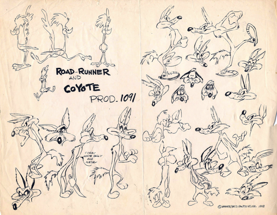 Wile E. Coyote and The Road Runner, sketch 1948