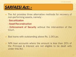 Securitisation and Reconstruction of Financial Assets and Enforcement of Security Interest Act ,2002,  (SARFASI)