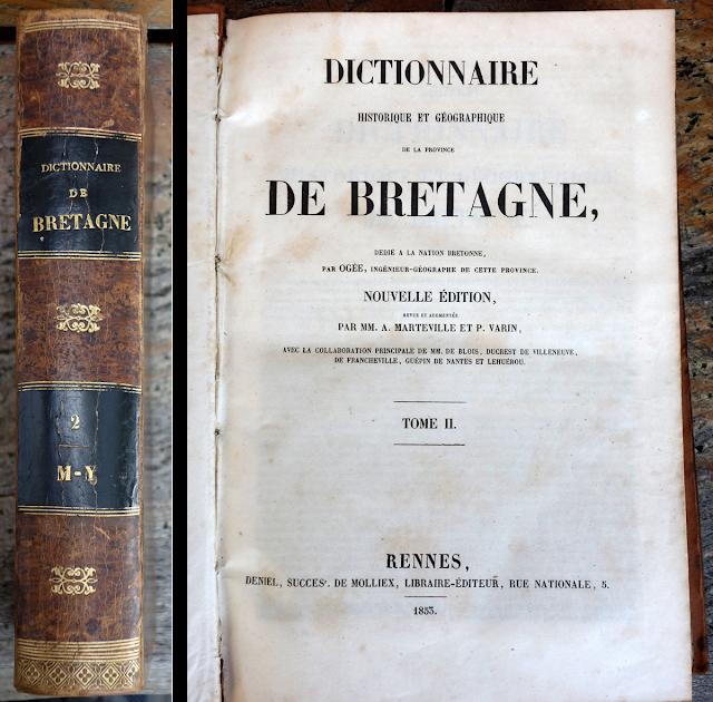 """La page de garde """"Dictionnaire de Bretagne"""" par Ogée - Edition de 1853"""