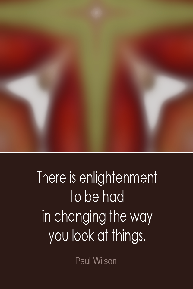 visual quote - image quotation: There is enlightenment to be had in changing the way you look at things. - Paul Wilson