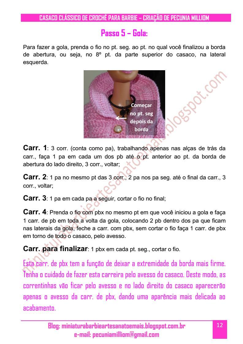 DIY - PAP - Passo a Passo do Casaco Clássico de Crochê Para Boneca Barbie - Segunda Parte