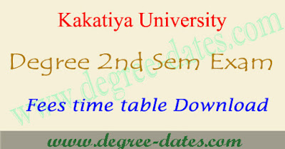 KU degree 2nd semester exam fees last date 2017 & ug time table