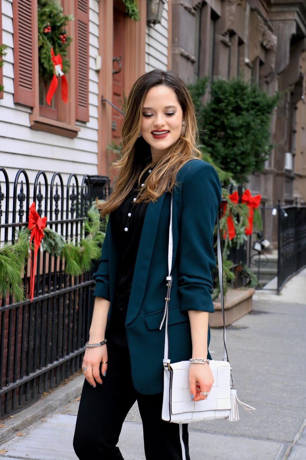 Nyc fashion blogger Kathleen Harper's holiday outfit ideas with pants
