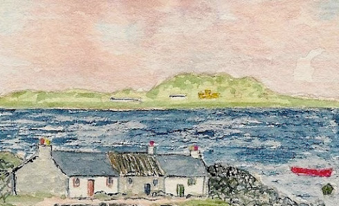 Iona from Fionnphort (Watercolour)