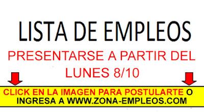 EMPLEOS PARA PRESENTARSE A PARTIR DEL 8/10