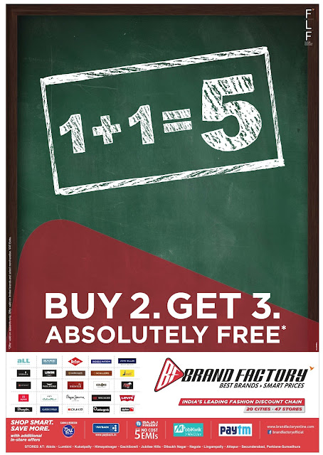 Buy 2 (two) &  Get 3 (three) absolutely free in Brand factory | September 2016 festival discount offer
