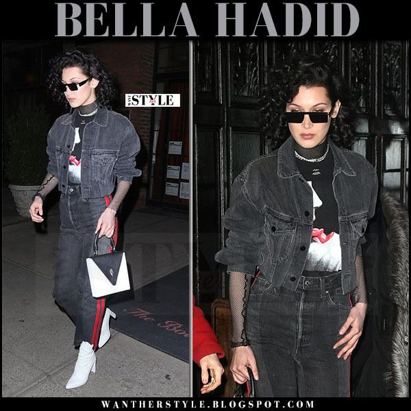 Bella Hadid in grey denim jacket grey red stripe jeans vetements and white boots what she wore march 2017
