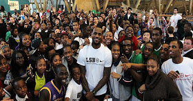 Lebron James with students from his foundation