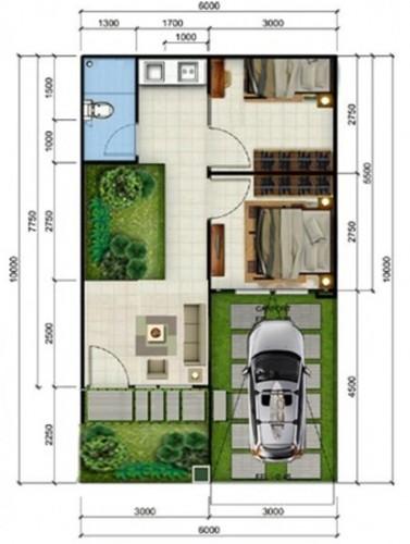 33 Denah Rumah Minimalis 2 Kamar Tidur Rumahku Unik